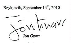 葛纳尔市长递给刘淇呼吁信上签名的复印件